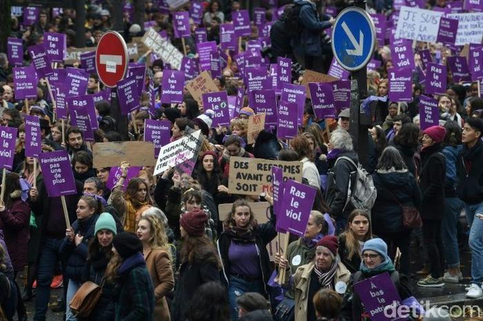 Demo menentang femisida di Paris. (Alain Jocard/AFP Photo)