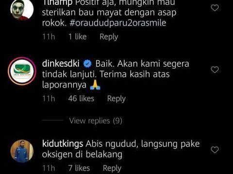 Komentar akun resmi Dinkes DKI Jakarta.