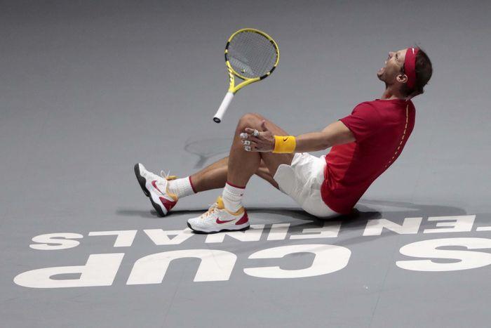 Rafael Nadal menjadi penentu Spanyol mengalahkan Kanada pada partai final turnamen Piala Davis 2019, Minggu (24/11/2019) atau Senin dini hari WIB. AP Photo/Bernat Armangue.