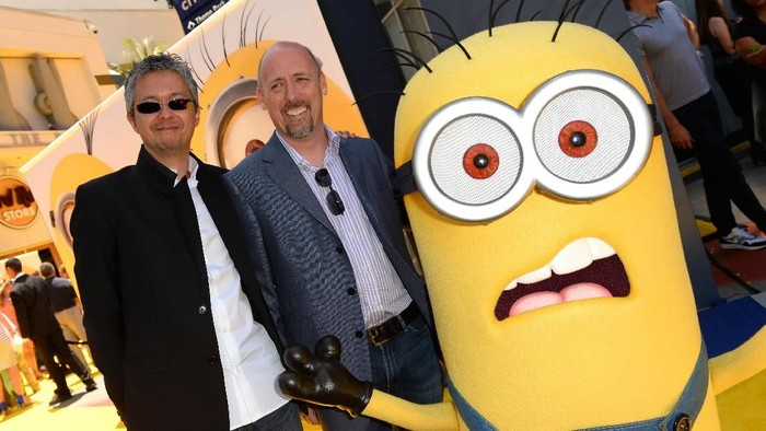 UNIVERSAL CITY, CA - JUNE 22:  Directors Pierre Coffin and Chris Renaud arrive at the premiere of Universal Pictures