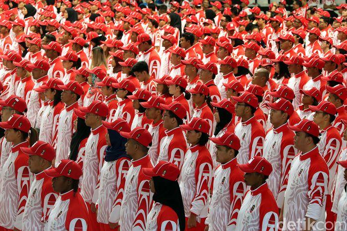 Potret sejumlah kontingan atlet Indonesia yang akan berlaga pada SEA Games 2019 di Filipina.