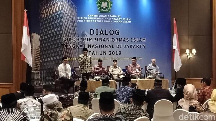 Menag bicara di Dialog Tokoh Pimpinan Ormas Islam tingkat Nasional, di Hotel Aryaduta (Eva Safitri/detikcom)