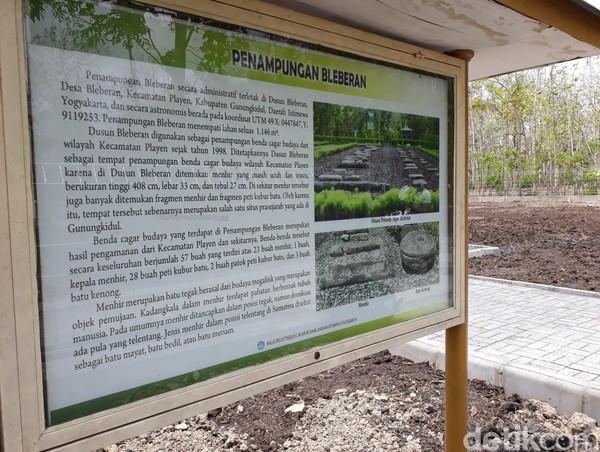 Di sana juga ada papan informasi yang menjelaskan menhir di situe Gunungkidul ini. (Pradito Rida Pertana/detikcom)