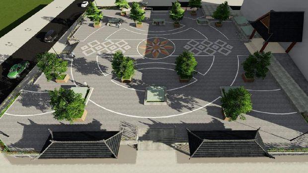 Desain Pasar Klewer sisi timur yang beratap ruang terbuka.