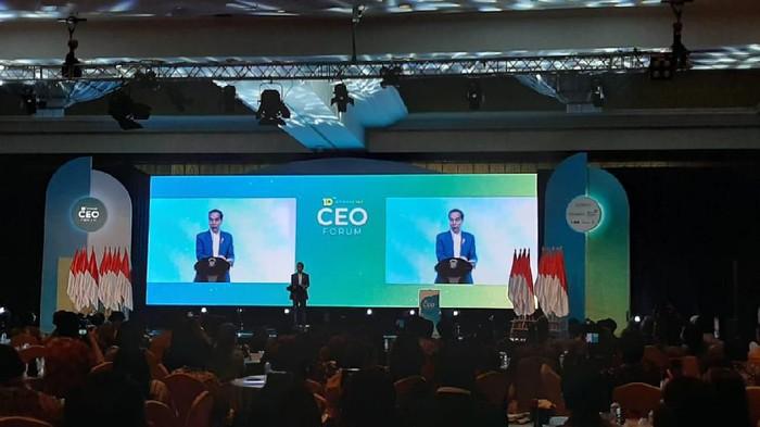 Jokowi di acara Kompas 100 CEO Forum. (Andhika Prasetia/detikcom)