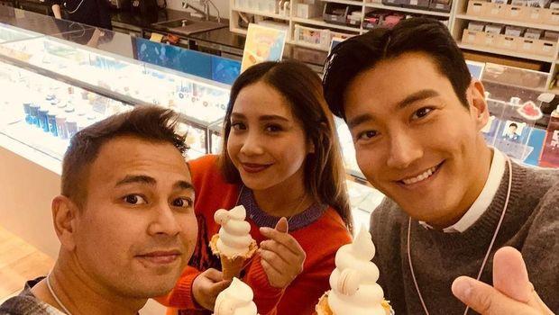 Choi Siwon bersama Raffi achmad dan Nagita Slavina (Screenshot Instagram @raffinagita1717)