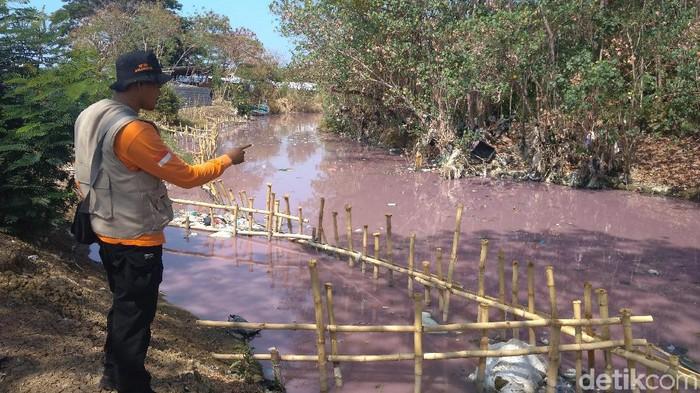 Warna air Sungai Ciberes, Cirebon, berubah warna jadi merah muda. (Sudirman Wamad/detikcom)