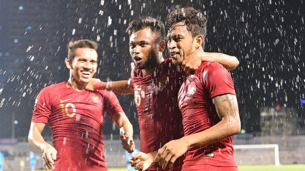 Timnas Indonesia saat mengalahkan Singapura 2-0 di SEA Games 2019. (