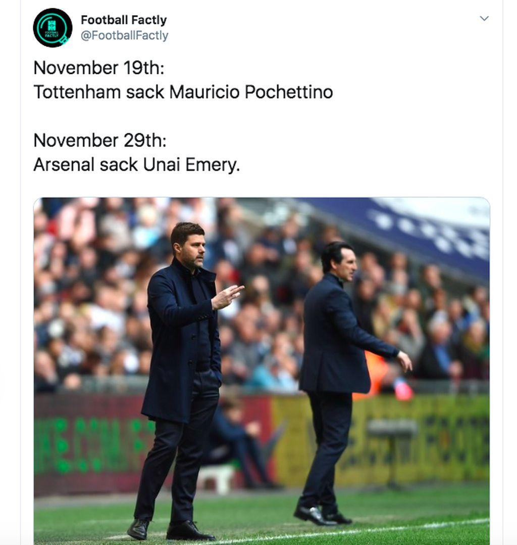 Terpaut cuma 10 hari, Spurs dan Arsenal telah memecat pelatih masing-masing. Foto: istimewa