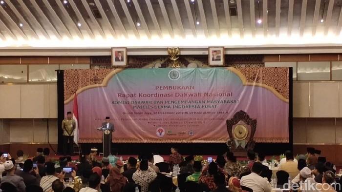 Wapres Maruf Amin mengingatkan para dai bersertifikat MUI soal toleransi dan Pancasila sebagai dasar negara. (M Fida/detikcom)