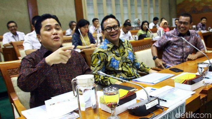 Menteri BUMN Erick Thohir di DPR/Foto: Lamhot Aritonang