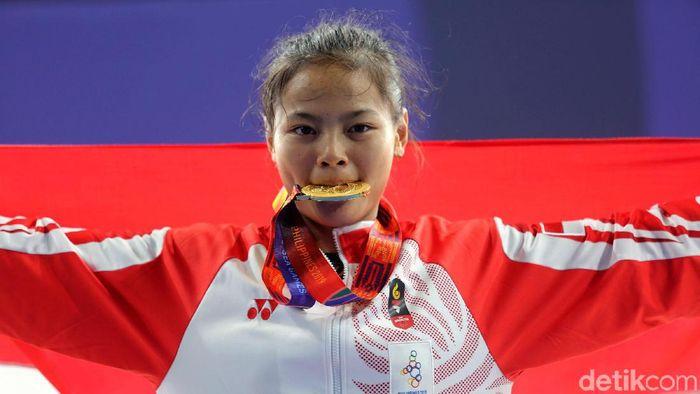 Windy Cantika Aisah usai raih emas SEA Games dari angkat besi, dia berfokus Olimpiade 2020.  (Grandyos Zafna/detikSport)