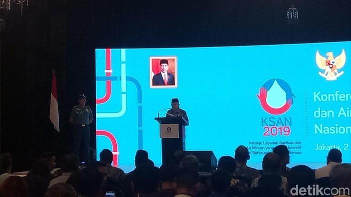 Wapres Maruf Amin dalam Konferensi Sanitasi dan Air Minum Nasional (KASN) (M Fida Ul Haq/detikcom)