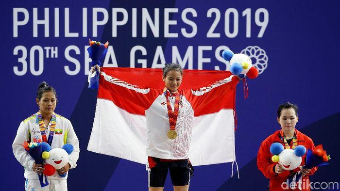 Windy Cantika Aisah meraih emas SEA Games 2019 di usia 17 tahun. (Grandyos Zafna/detikSport)