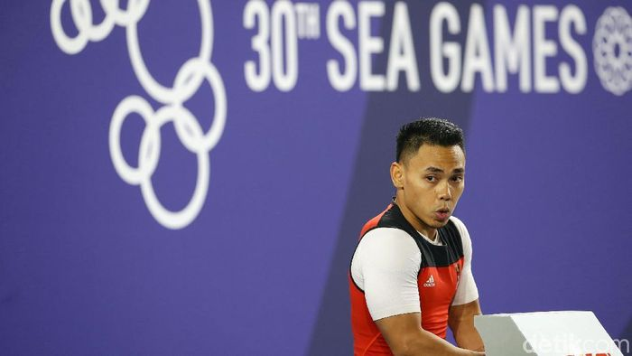 Eko Yuli Irawan meriah medali emas SEA Games untuk kelima kalinya. (Grandyos Zafna/detikSport)