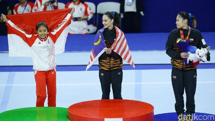 Pesenam Rifda Irfanalutfi meraih medali emas di SEA Games 2019. (Foto: Grandyos Zafna)