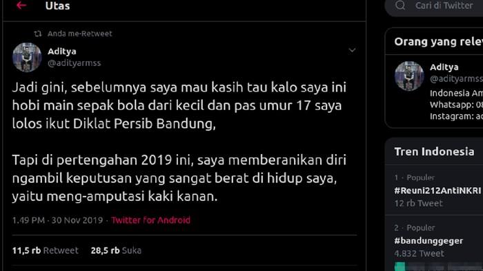 Kisah viral di Twitter menceritakan netizen yang rela kaki kanannya diamputasi demi bisa sehat. (Foto: Tangkapan layar Twitter @adityarmss)