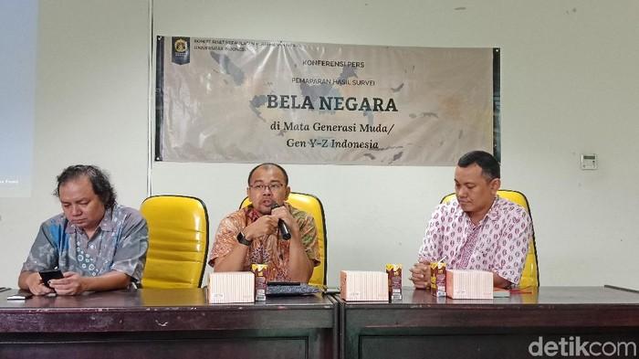 Komite Riset Kedaulatan Pertahanan Universitas Indonesia (KRKP UI) menggelar penelitian terkait pentingnya program Bela Negara pada generasi milenial (Eva Safitri/detikcom)