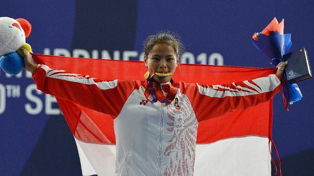 Windy Cantika saat mendapatkan medali di SEA Games Filipina. (