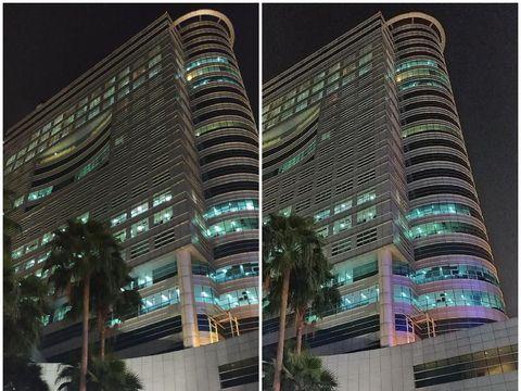 Mode default (kiri) dan Night Mode (kanan)
