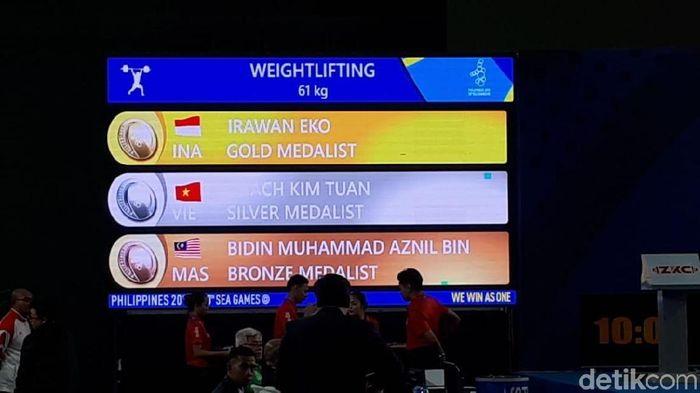 Eko Yuli Irawan persembahkan emas keenam untuk Indonesia di SEA Games 2019. (Mercy Raya/detikSport)
