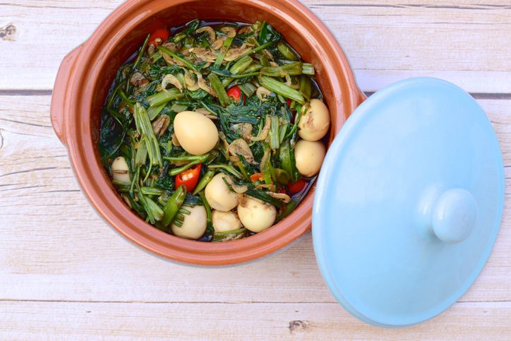 Delicious Cah Kangkung, Delicious stir fried water spinach or kale. Indonesian food