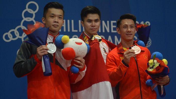 Indonesia berada di peringkat ketiga klasemen sementara medali SEA Games 2019. (Foto: Nyoman Budhiana / Antara Foto)