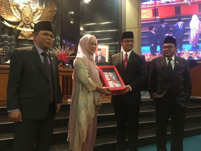 Foto: Anies Baswedan sampaikan pidato di DPRD DKI Jakarta (Arief Ikhsanudin-detikcom)