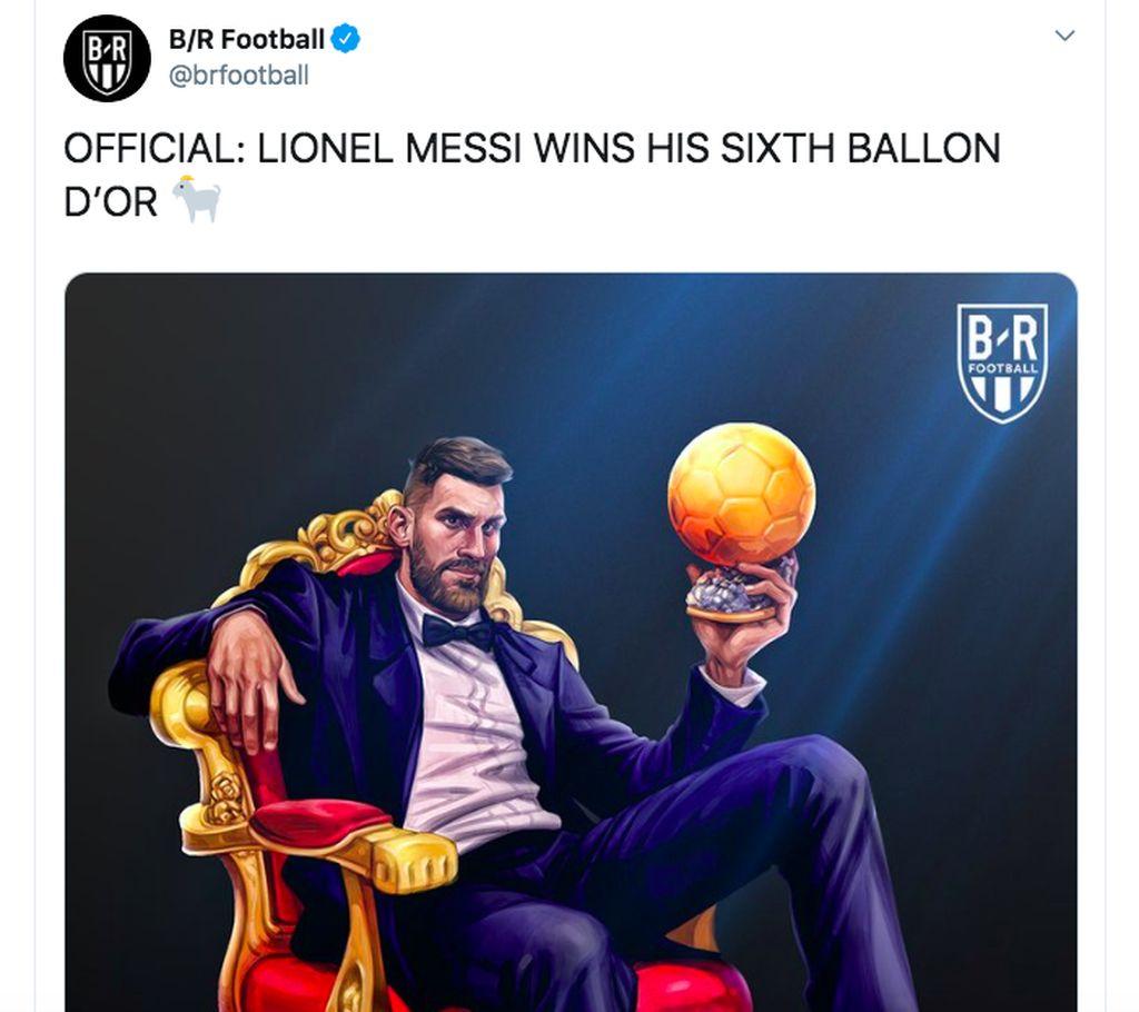 Kartun Messi merayakan kemenangannya banyak bertebaran. Foto: istimewa