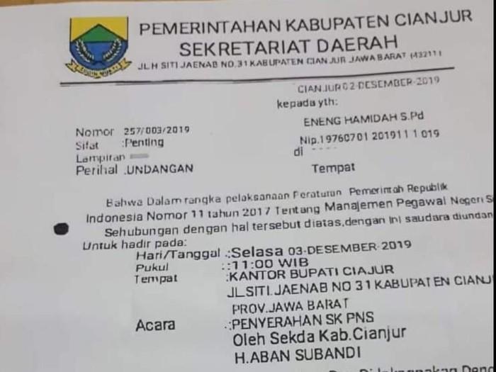 Surat palsu soal pemberian SK PNS Pemkab Cianjur. (Foto: tangkapan layar Facebook)