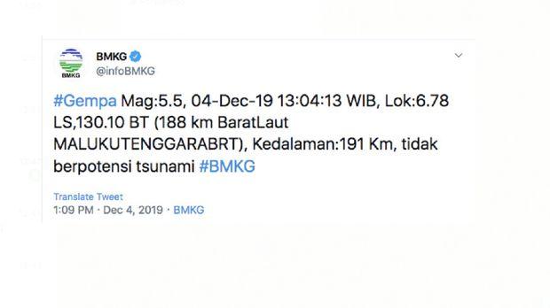 Gempa M 5,5 Guncang Maluku, BMKG: Tidak Berpotensi Tsunami