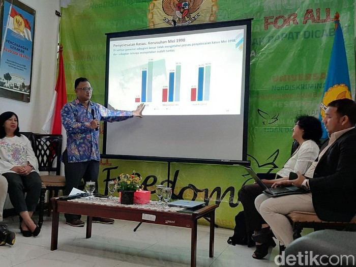 Foto: Komnas HAM memaparkan hasil survei Komnas HAM dan Litbang Kompas. (Lisye SR/detikcom)