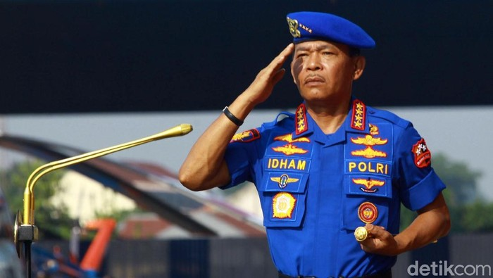 Korps Kepolisian Perairan dan Udara (Korpolairud) Polri menggelar upacara HUT ke-69 di Lapangan Udara Pondok Cabe, Pamulang, Tangerang Selatan, Rabu (4/12/2019). Upacara dipimpin oleh Kapolri Jenderal Jenderal Idham Azis.