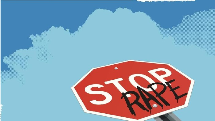 """Illustrator 10 with Transparencies. Tight vector background illustration of a stop sign with the graffiti word rape. Add a headline and body copy or take out the background and make spot art. Check out my """"Conceptual Signs"""" light box for more."""