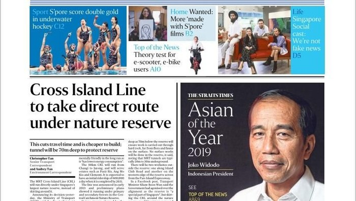 Foto: Presiden Joko Widodo (Jokowi) dianugerahi Asian of The Year dari media The Straits Times Singapura. Dok. Istimewa