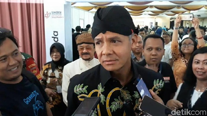 Gubernur Ganjar Pranowo saat berada di Solo, Kamis (5/12). (Bayu Ardi Isnanto/detikcom)