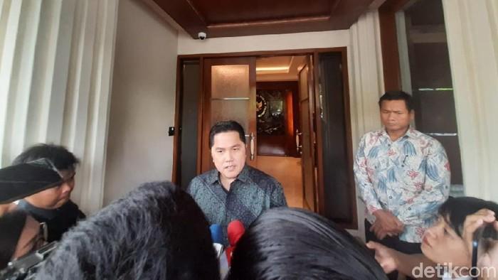 Menteri BUMN Erick Thohir di Kemenko Polhukam (Yogi Ernes/detikcom)