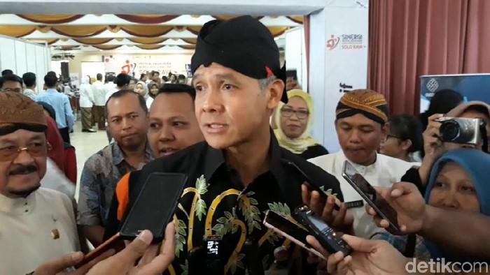 Gubernur Ganjar Pranowo saat di Solo. (Bayu Ardi Isnanto/detikcom)