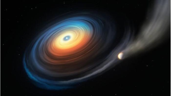 Ilustrasi planet raksasa kehilangan atmosfernya karena white dwarf. Foto: ESO / M KORNMESSER via BBC