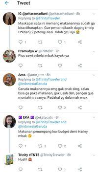 Trinity Dapati Suguhan Makanan Garuda Indonesia yang Mengecewakan