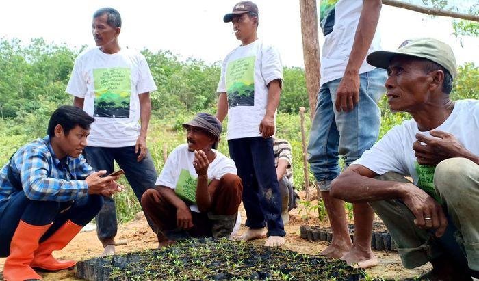 Para petani penggarap skala kecil di area konsesi HTI (Hutan Tanam Industri) LAJ dan PT Wanamukti Wisesa termasuk petani yang tergabung dalam Kelompok Tani Hutan Wana Mitra Lestari mendapatkan ilmu pengetahuan agar bisa meningkatkan ketercukupan pangan dan pendapatan petani sekitar hutan. Foto: dok. RLU