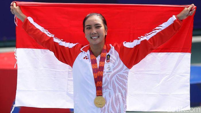 Aldila Sutjiadi dan atlet-atlet dari 12 cabang olahraga lainnya berpeluang merebut medali emas SEA Games 2019 hari ini (Grandyos Zafna/detikSport)