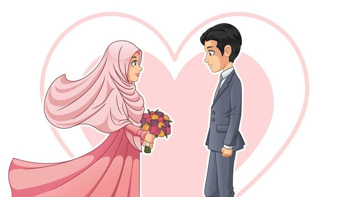 Gambar Kartun Wanita Pria Muslim Tata Cara Taaruf Sesuai Syariah Islam