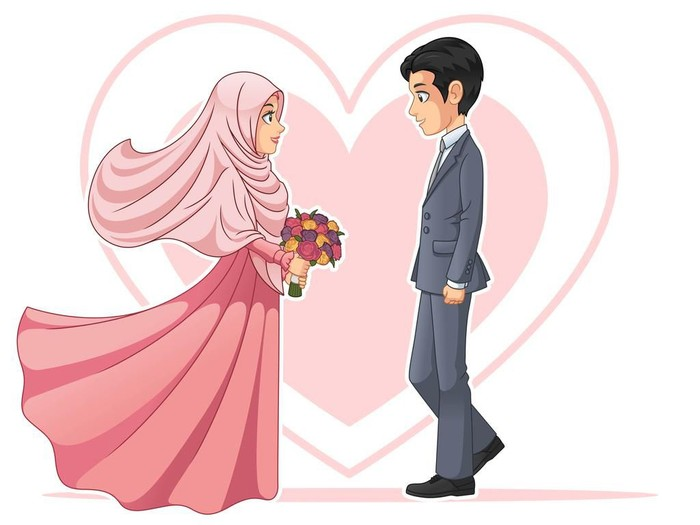 Muslim bride and groom looking at each other cartoon character design, isolated on white background, vector clip art illustration.