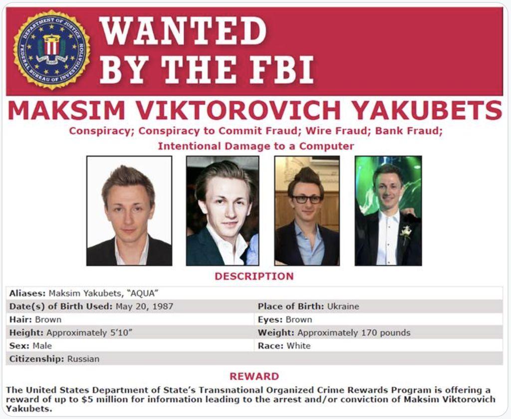 Maksim Yakubets (Twitter FBI)