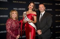 Paula M. Sugart, Miss Universe Catriona Gray and Pascal Mouawad unveil the new Miss Universe crown on December 5, 2019
