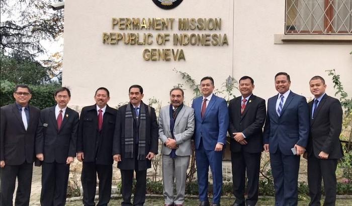 Kepala BNPT Suhardi Alius dan Deputi Wakil Tetap I PTRI untuk PBB Andreano Erwin. (Dok BNPT)