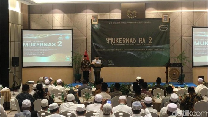Wakil Presiden Maruf Amin membuka Mukernas Rabithah Alawiyah 2019. (Fida/detikcom)