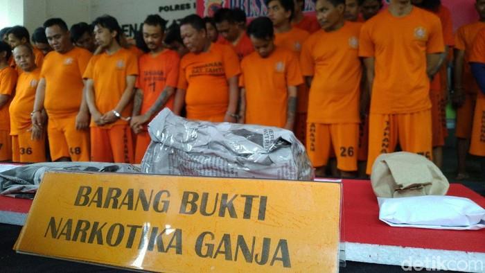 Polres Bogor menangkap 53 pelaku kasus ganja dan sabu. (Sachril Agustin Berutu/detikcom)