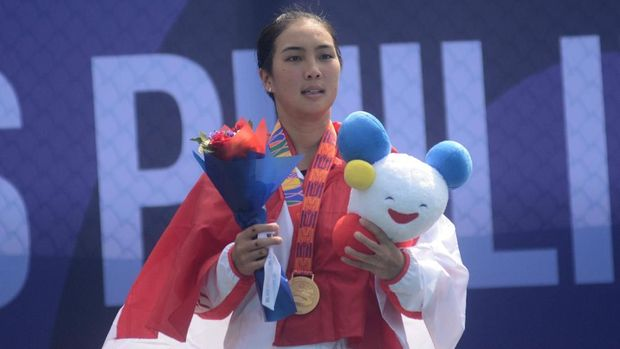 Aldila Sutjiadi merebut dua emas di SEA Games 2019.
